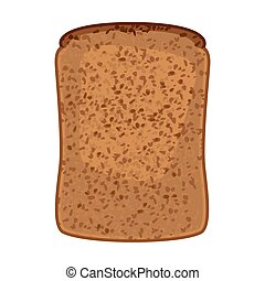 Closeup of slice of whole wheat bread isolated illustration