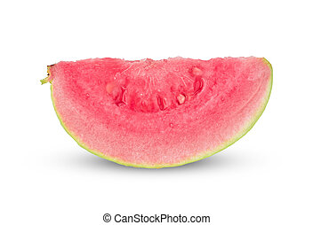 Closeup of Sliced pink guava isolated on white background