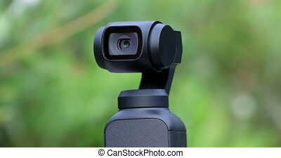 Closeup Of Small Gimbal Camera, Head Automatically Tracks...