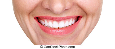 closeup of smile with white healthy teeth