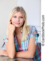 Closeup of smiling beautiful blond woman