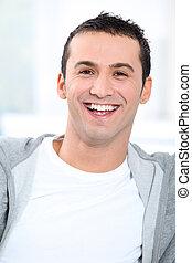 Closeup of smiling young man