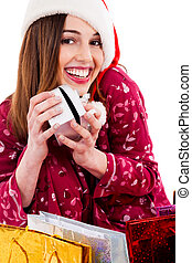 young woman posing with christmas gift