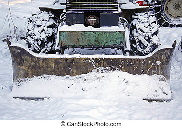 plough tractor - closeup of snow plough tractor