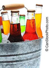 Closeup of Soda Botles in Bucket
