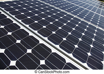 Closeup of solar panel cells mounted on roof top. Solar...