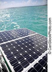 Closeup of solar panels set in a sailboat