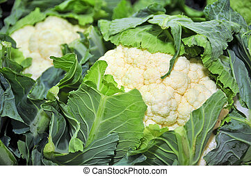 cauliflowers - closeup of some cauliflowers in a vegetables...