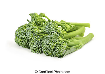 broccolini - closeup of some stems of broccolini on a white ...
