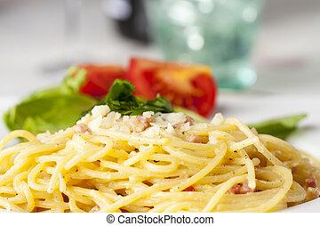 closeup of spaghetti carbonara on a plate