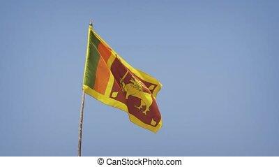 Closeup of Sri Lankan National Flag in the Breeze. Video 1080p FullHD