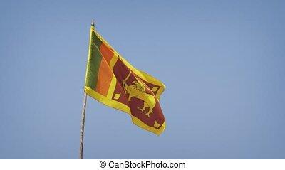 Closeup of Sri Lankan National Flag in the Breeze. Video 4k ...