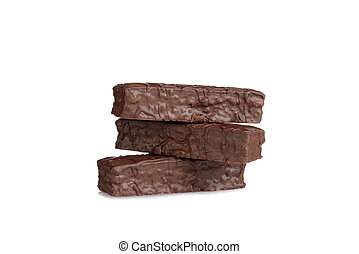 stack of chocolate bar cakes on white