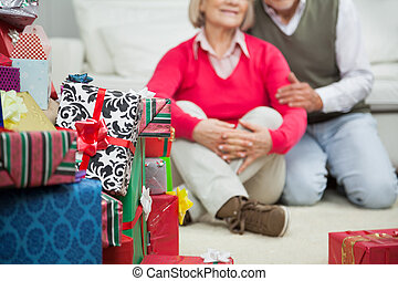 Closeup Of Stacked Christmas Gifts