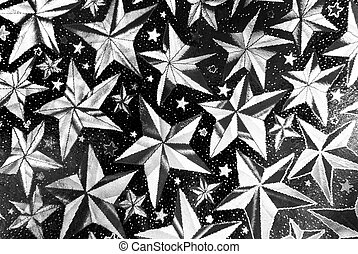 closeup of stars abstract black and white background