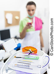 Closeup of stomatological tools