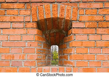Closeup of stone wall with window