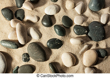 Closeup of stones sticking out of the sand in the sunlight