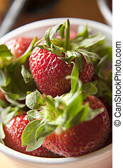 Closeup of strawberries in a bowl