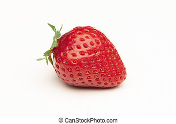 Closeup of strawberry on a white background