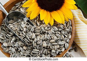 Closeup of Sunflower Seeds - Nutritious sunflower seeds fill...