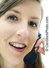 Closeup of support phone operator