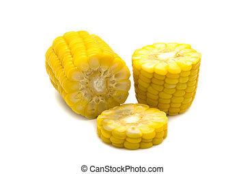 Closeup of sweet corn isolated on white background