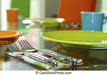 Closeup of Table Place Setting for Dinner Party - Closeup of...