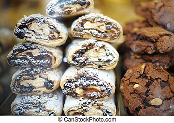 italian cookies with chocolate and almonds