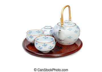 Closeup of tea set on white background. File contains with clipping path.