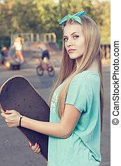 Closeup of teen girl face