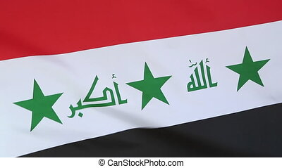 Closeup of textile flag of Iraq