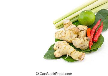 Closeup of Thai ingredients, galangal, lime, lemongrass, ...