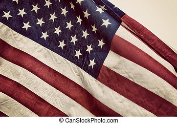 Closeup of the American flag. Vintage tone.