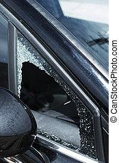 the broken vent glass of a car
