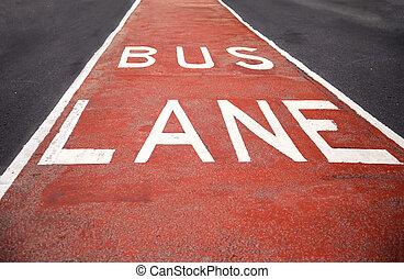 Closeup of the bus lane sign