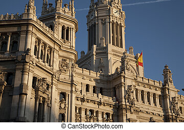 Closeup of the City Hall council building in Madrid, Spain