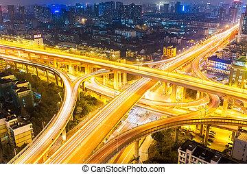 closeup of the city interchange at night