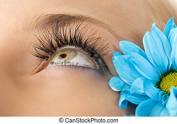 closeup of the eye of woman with creative eyelashes and blue daisy