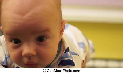 Closeup of the face of a little boy