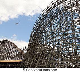 roller coaster - closeup of the highest wood roller coaster...