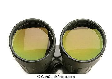 closeup of the lenses of a binocular