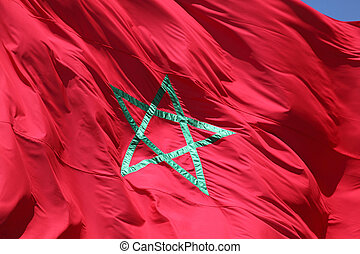 Closeup of the moroccan flag waving in the wind