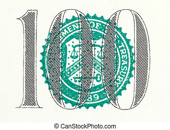 one hundred on a dollar bill