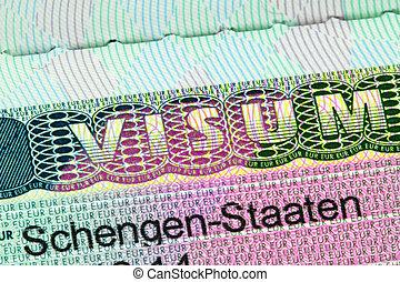 Closeup of the Schengen visa