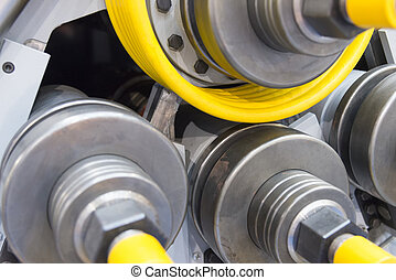 Closeup of the tube / pipe roll forming machine