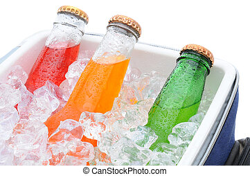 Closeup of three soda bottles in ice chest