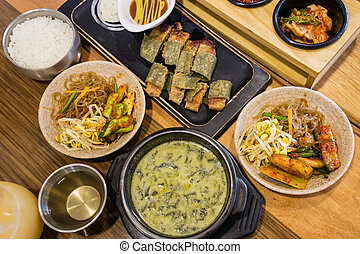 traditional Korean meal with side dishes - closeup of ...