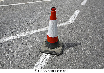 traffic cone on the asphalt road