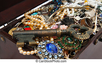 Closeup of Treasure chest with key. Focus on key